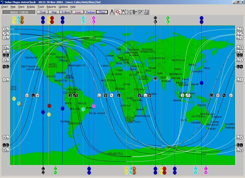 lijnen op de wereldkaart